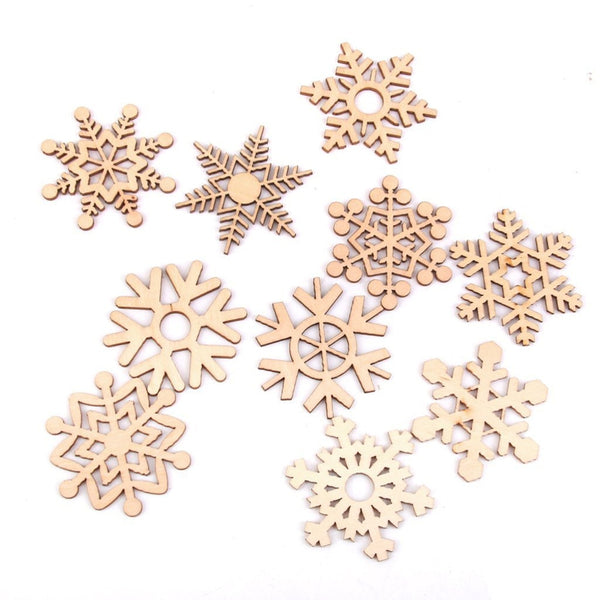 10pcs Assorted Snowflake Wooden Laser Cut Embellishment
