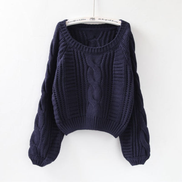 Autumn Winter Women Casual O-Neck Twist Soft Sweaters And Pullovers Lantern Sleeve Short Sweater Loose Pull Femme