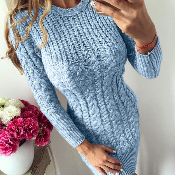 Autumn Winter Warm Sweater Dress Women Sexy Slim Bodycon Casual Female O-neck Long Sleeve Knitted Dresses Vestidos