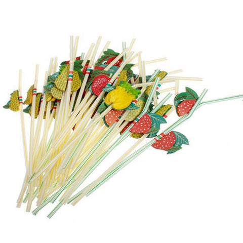 50pcs/lot 24cm 3D Party Straw Multicolor Fruit Plastic Straw