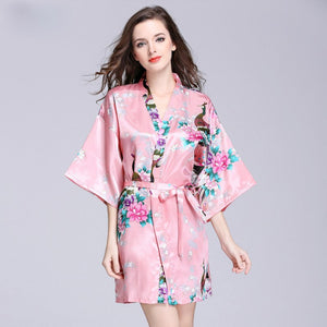 Summer Women Simulation Silk Dressing Gown Peacock In Half Sleeve 12 Colours Pajamas Bathrobe