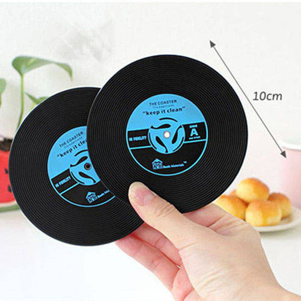 Home Table Cup Mat Creative Decor Coffee Drink Placemat Spinning Retro Vinyl CD Record Drinks Coasters