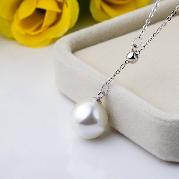 925 Sterling Silver Necklaces Natural Pearl Jewelry Pendant Necklace For Wedding Anniversary Birthday Gift 40+5cm