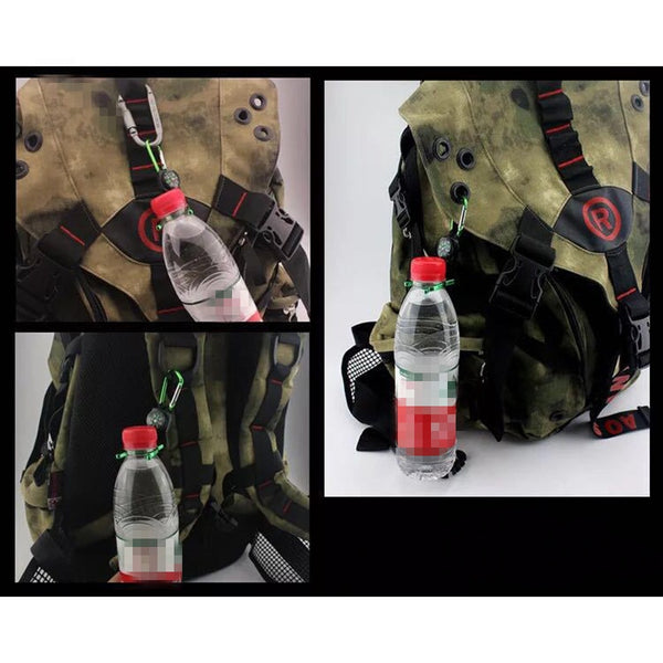 Carabiner Water Holder Bottle Clip Strap With Compass