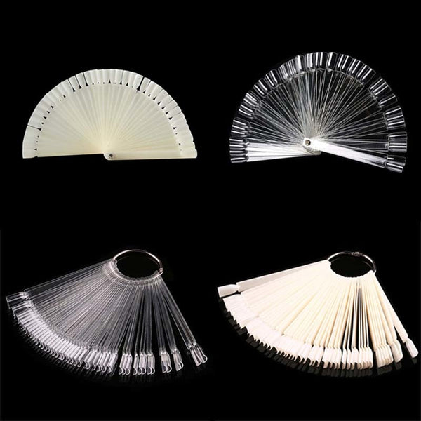 50pcs False Nail Display Nail Art Fan Wheel Polish Practice Tip Sticks Nail Show Display Tool