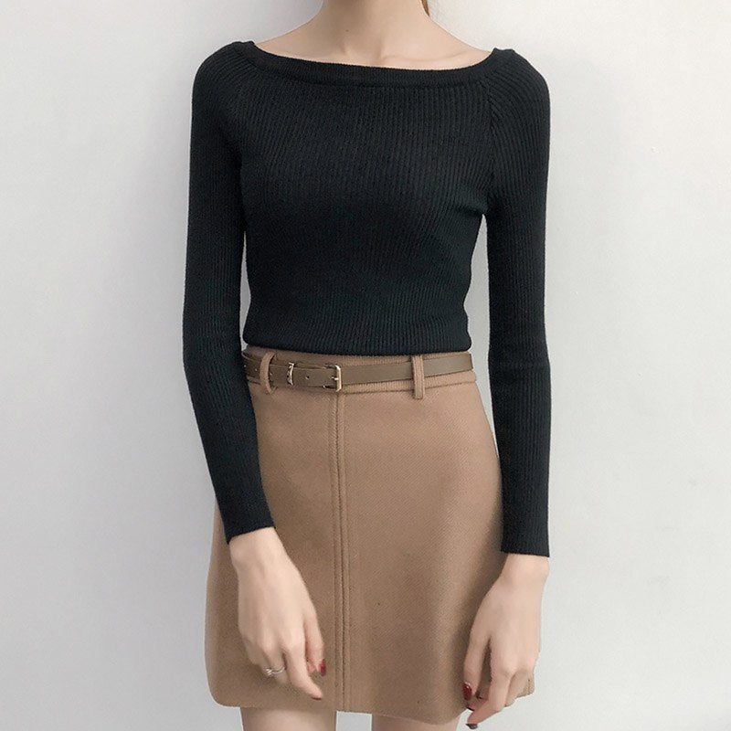 Autumn Winter Basic Women Casual Sweater Slit Neckline Strapless Sweater Thickening Top Thread Slim Knitting Sweaters