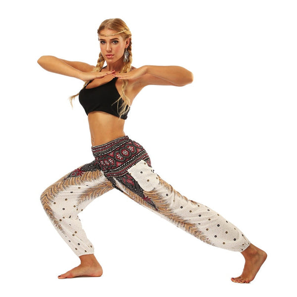 JIGERJOGER Red mandala circle galaxy floral Printed yoga pants