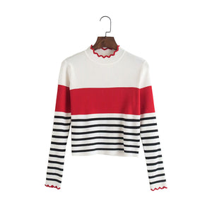 Autumn Winter Casual Ruffles O-neck Stripe Women Sweater Long Sleeve Ladies Sexy Pullover Jumper Female Tops