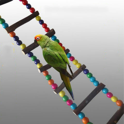 Parrot Pet Bird Wood Ladder Climb Cableway Hamster Toys