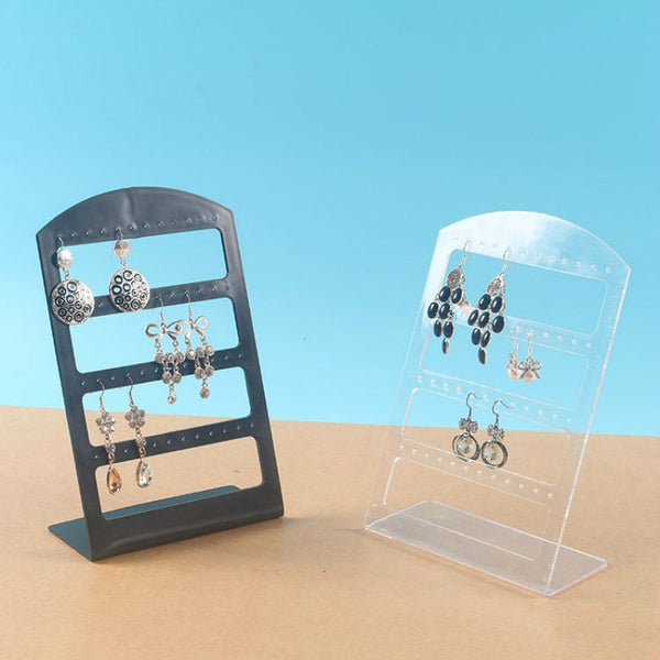 Black 24Pairs/48 Holes Transparent Plastic Acrylic Display Rack Holder Organizer Ear Stud Earring Jewelry Show Display Stand