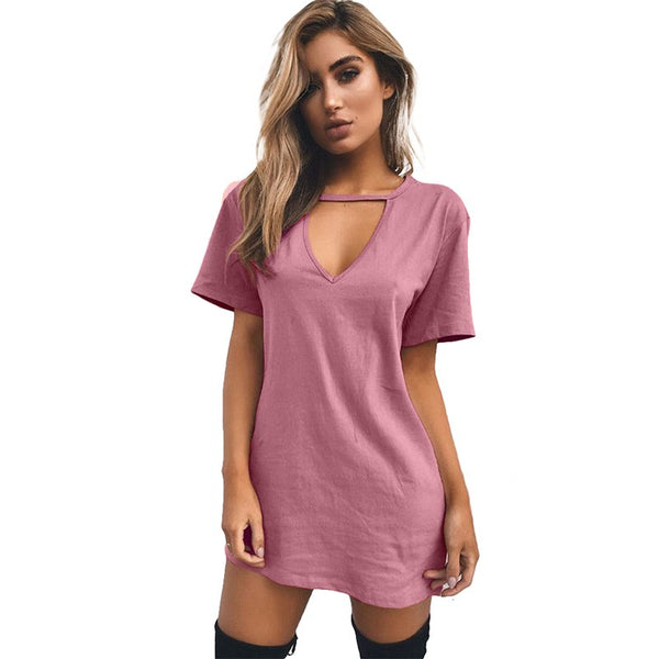 Summer Sexy V Neck Cotton Dresses Female Solid Casual Loose Dress Women A-Line Mini Vestidos Plus Size