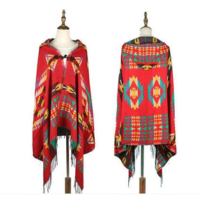 Ladies Warm Winter Scarf imitation Cashmere Bohemian National Wind Hooded Horn Buckle Cloak Cloak Travel Air Conditioning Shawl
