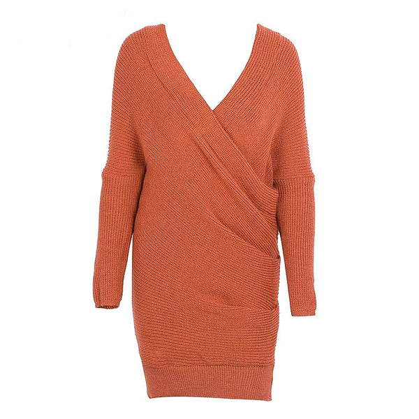 Autumn Winter Casual Dress Sexy V-neck Cross Knitting Sweater Dresses Women Elegant Long Sleeve Pullover Female