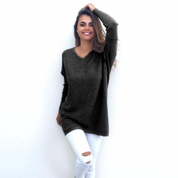 Autumn Winter V-Neck Women Sweater Round Neck Pullover Long Sleeves Tops Shirt Knit Loose Sweaters Large Size