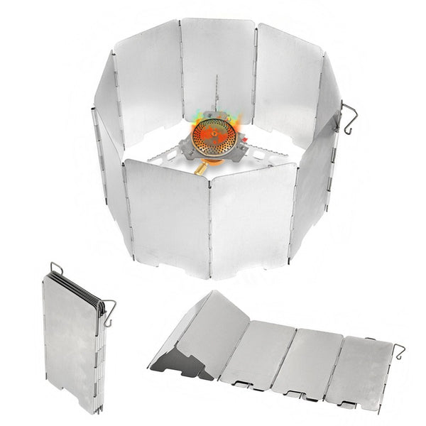 9 Plates Wind Deflectors Foldable Outdoor Camping Cooking Cooker Gas Stove Wind Shield Screens