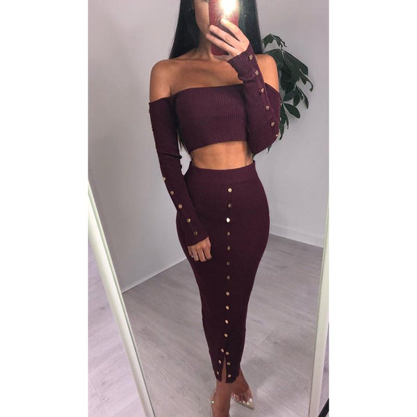 Autumn Winter Women Off Shoulder Long Sleeve Sexy Slim Two Piece Strapless Party Dresses Casual Sweater Dress