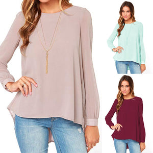 Women Casual Chiffon Blouse Pleated Back Long Sleeve Asymmetric Shirt Loose Plus Size O-Neck Solid Slim Oversized Shirts