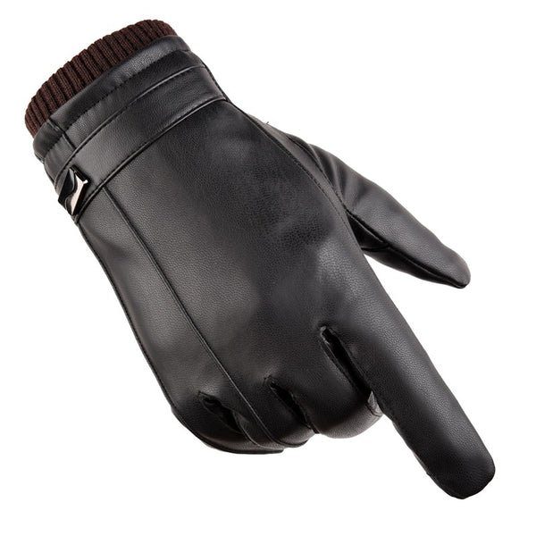 Riding Waterproof Windproof And Velvet Thickening Men's Leather Gloves