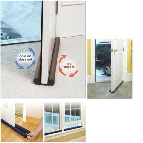 Useful Tools Coffee Color Twin Door Draft Dodger Guard Stopper Energy Save Doorstop Protector Doorstop Room Damage Safe For Kids