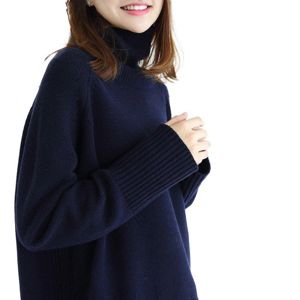 Winter Women New Fashion Cashmere Wool Warm Solid Sweaters Casual Full Sleeve Turtleneck Loose Knitted Pullovers