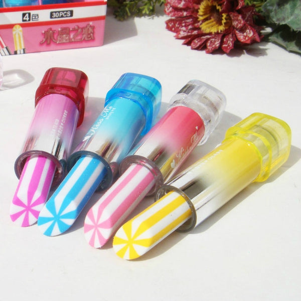 DIY Cute creative Kawaii rubber lipstick for kids gift novelty school supplies