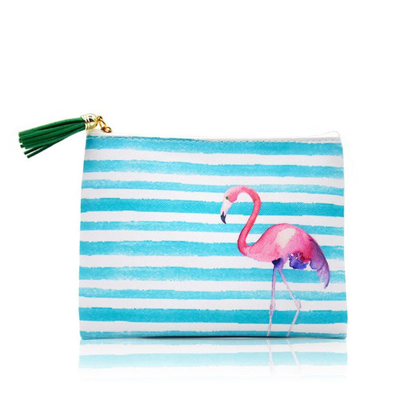 Women Stripe Cosmetic Case Bag Flamingo Printed Lady Zipper Clutch Bag with Tassel Leather Colorful Small Makeup Bag