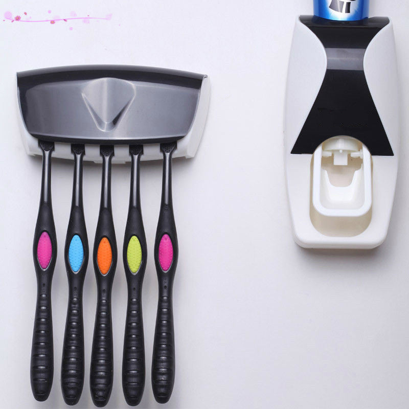 Fashion Home Bathroom Automatic Toothpaste Dispenser + 5pcs Toothbrush Holder Set Family Set Wall Mount Rack Bath Oral