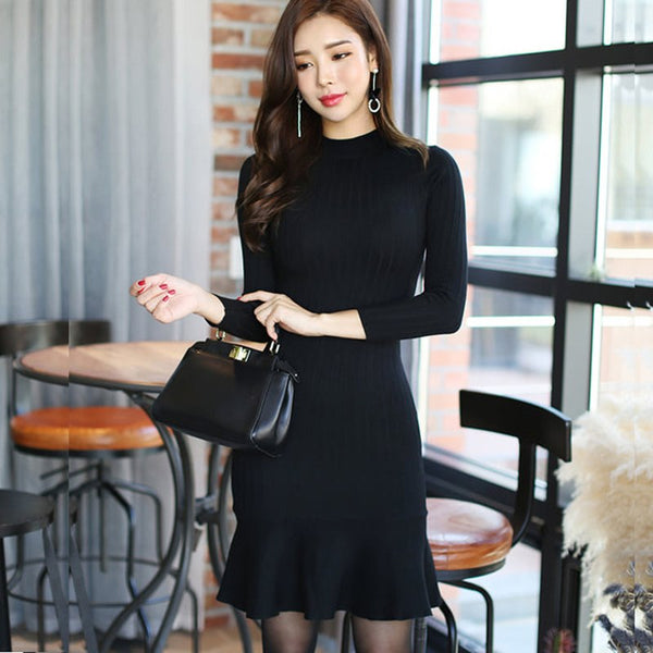 Autumn Winter Women Ruffle Sweater Dress Long Sleeve Bodycon Dresses Ladies Knee Length Knitted Sweater Dresses