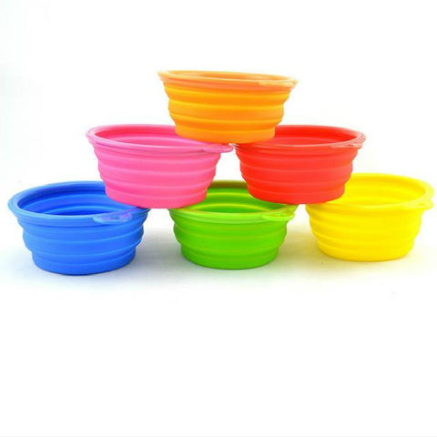1 PC Dog Pet Portable Silicone Travel Feeding Bowl  Candy Color