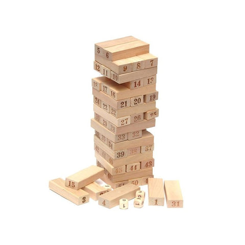 54 PCS/Set Small Size Digital Jenga Puzzle Board Game