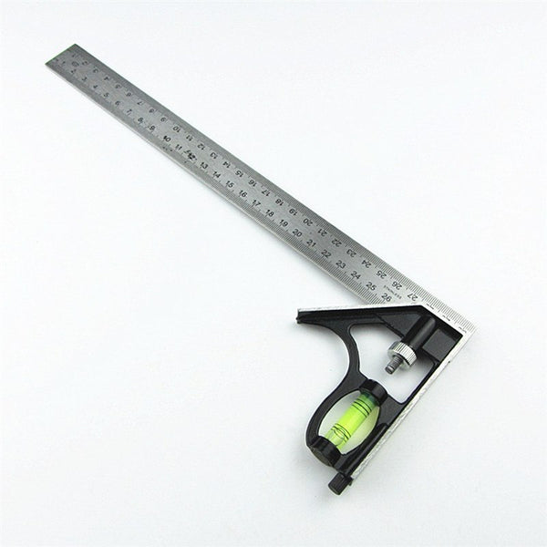 "DIY Precise Stainless Steel Measuring Tools Aluminium Combination Ruler Mobile Square Workshop Hardware Angle Spirit Level 12""(300mm)"