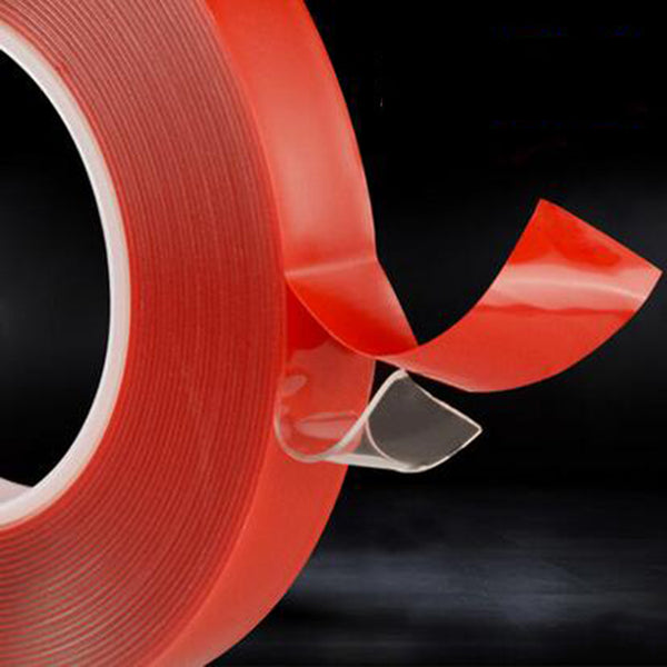 4mm*25M Strong Acrylic Adhesive PET Red Film Clear Double Side Tape No Trace For Phone Tablet LCD Screen Glass