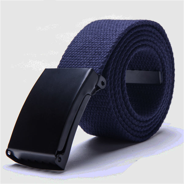 Colorful Waistband Accessories Cotton Canvas Belts for Unisex Men Women Automatic Buckle Plain Webbing Waistband