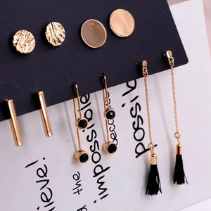 New Fashion Earrings Round Piece Vertical Drill Tassel Five Pairs