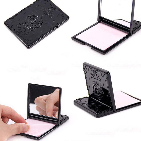 50pcs Oil absorbing sheet With Black & White Mirror Case ,oil remover paper Absorb Blotting Facial Cleaner Face Tools