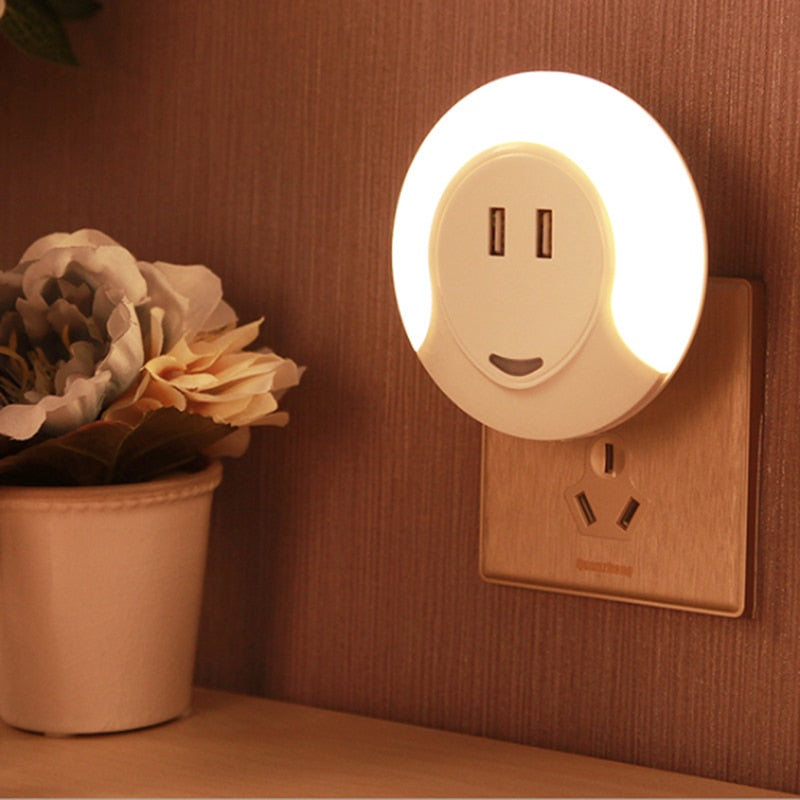 LED night light+ USB fast charger 2 in 1 EU plus fast charging adapter