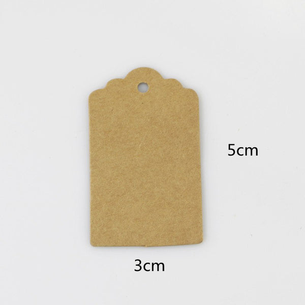 100 Pcs/lot 5x3cm Kraft Paper Tags Brown Lace Scallop Head Label Luggage Wedding Note DIY Blank Price Hang Krafts Gift