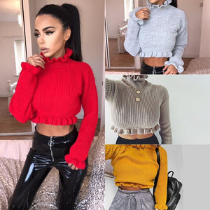 Autumn Winter Women's Ruffles Turtlenecks Sweaters Knitted Clothing Fashion Sexy Crop  Butterfly Sleeve Sweater Pullover