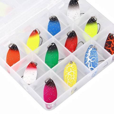 12PCS/set Fishing Lure Spoon-shaped Horse Mouth Sequin