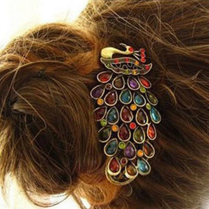 1Pcs Luxury Ladies Vintage Colorful Hair Pin Rhinestone Gem Antique Bronze Peacock Barrette Hairpin Hair Clip
