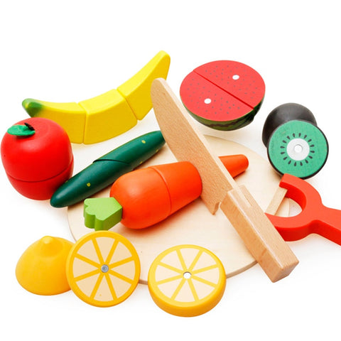 10Pcs/set Children Wood Kitchen Toys Colorful