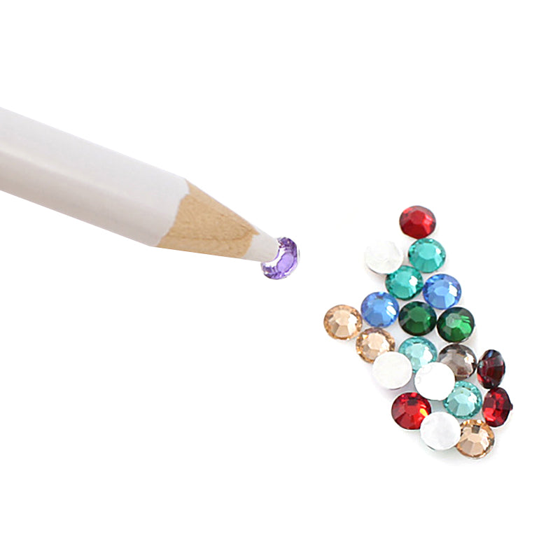 10 Pcs/lot White Nail Art Rhinestones Gems Picking Tool 3D DIY Design Painter Pencils Nail Art Dotting Tools