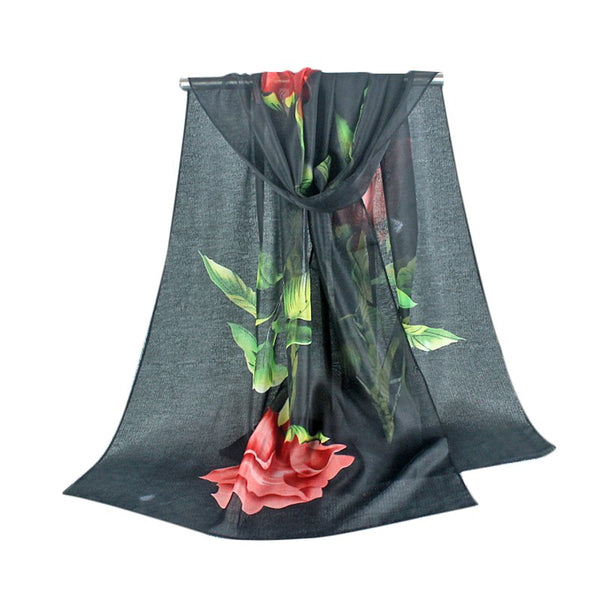 Long Scarf Women Lovely Rose Soft Wrap Scarf Ladies Shawl Chiffon Scarves Good Quality Hot Sale Foulard Silk Scarf Chiffon Femme