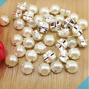 100pcs 7mm Silver Plating Pearl Color Rhinestone Beads for Garment Jewelry Sew on Pearls with 4 Holes