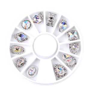 Nail Art Wheel Rhinestone Diamond Gems Metal AB Crystal Glitter 3D