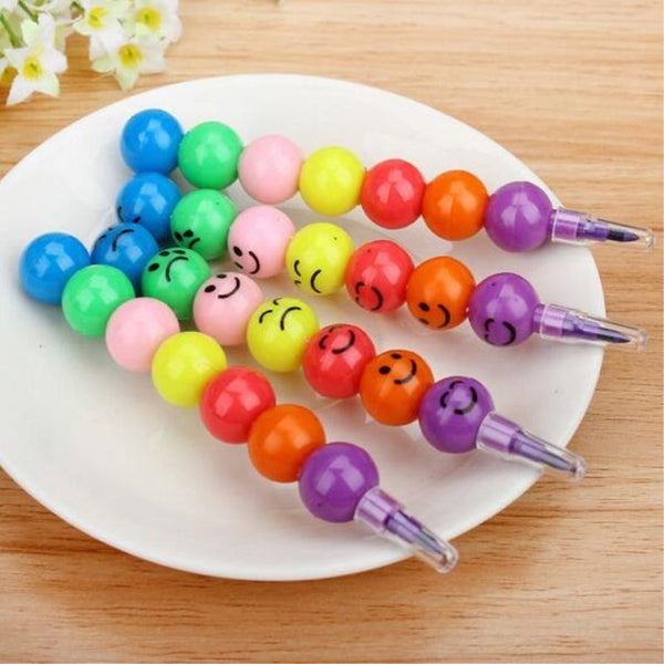 7 Colors Crayons Creative Sugar-Coated Haws Cartoon Smile Graffiti Pen Stationery Gifts For Kids Wax Crayon