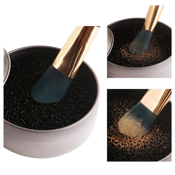 1pcs Portable Round Sponge Cosmetic Brush Cleaner Face Foundation