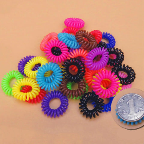 10pcs/pack Hair Gum Cord Bobble Traceless Telephone Cord Rope Line Elastic Ponytail Holders Hair Band Ring Scrunchy Gum For Hair