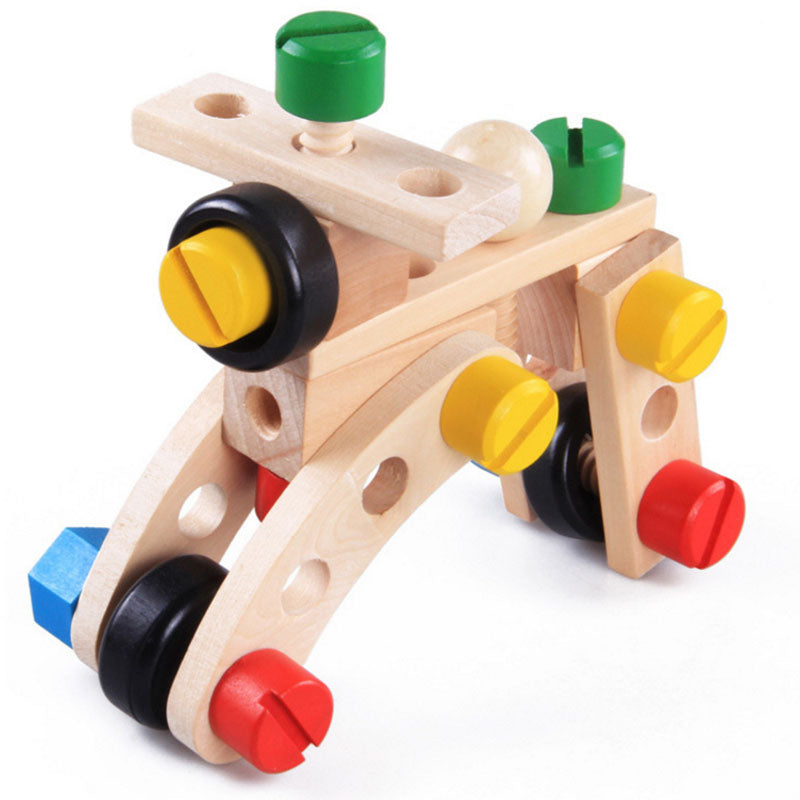 Wooden Toy Building Blocks Screw Cars