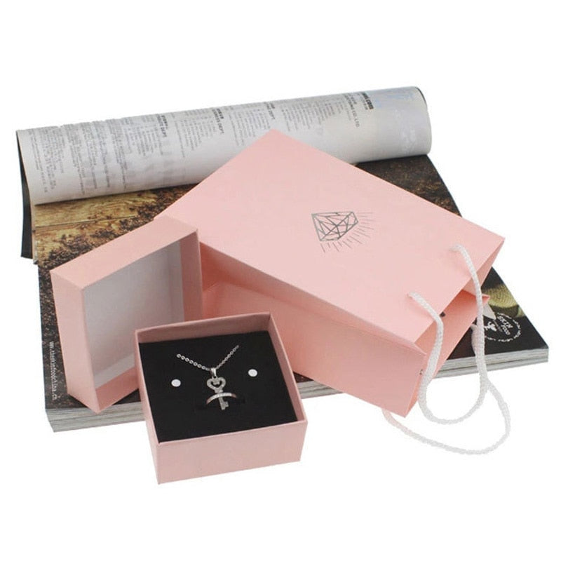 2Pcs Pink Diamond Pattern Jewelry Display Box + Jewelry Handbag Gift Boxes Set
